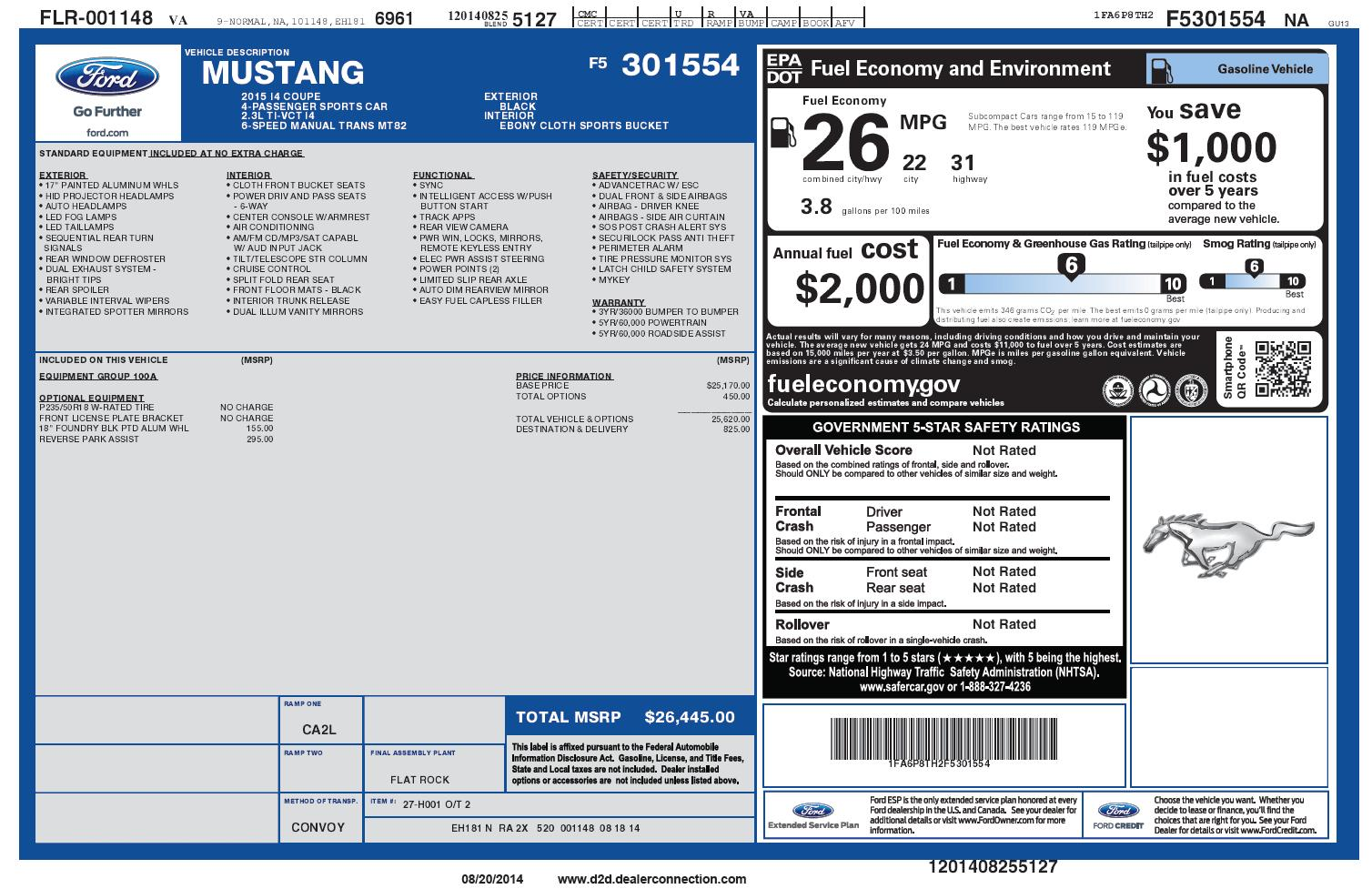 2015_Ford_Mustang_Coupe_I4_Manual_Sticker